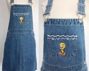 Vtg 90s Looney Tunes cotton denim embroidered tweety bird skirt overalls dress. XS/S . D157 . 1230.10.14.16