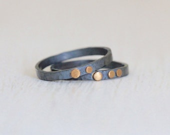 Recycled Silver and Gold Dot Rings