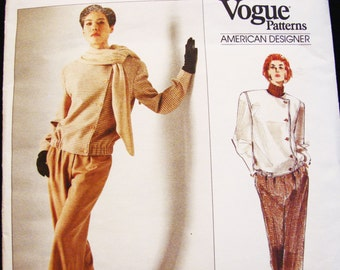 Vogue Pattern Calvin Klein, Jacket, High Waisted Pants, Asymmetrical Jacket with Straight Leg Pants Pattern Size 8 10 12 UNCUT