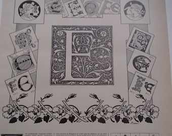 "French Larousse Encyclopedia Letter ""E"" Alphabet Print Circa 1900"