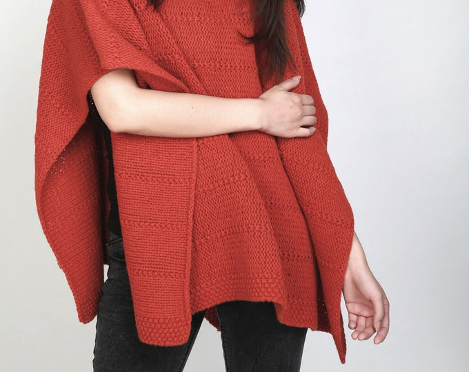 Hand knit heavy wool Poncho/ capelet in orange Red woman sweater rolled collar