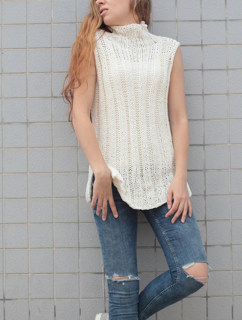 Hand knit woman cotton tunic sweater Tank knit White Cream ...