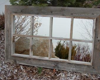 mirror window. rustic mirror - window pane barnwood 8 panes o