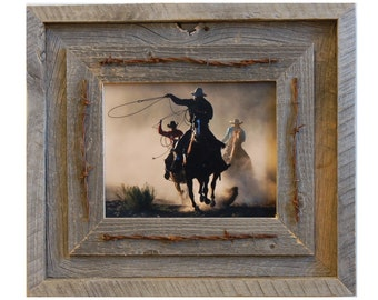 Western Barnwood Frame with Barbed Wire - The Laramie