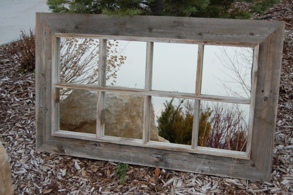 Rustic Mirror Window Pane Barnwood Mirror 8 Panes
