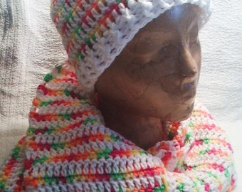 Crocheted hat and scarf set in neons and white