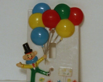 Vintage Clown Light Switch Cover Plate, Vintage Nursery Switchplate, Vintage Cover Plate, Vintage Children's Light Switch Cover
