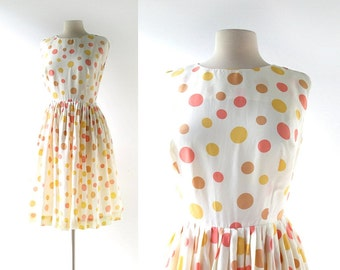 Polka Dot Dress / Les Macarons / 1960s Dress / 60s Dress / Small S
