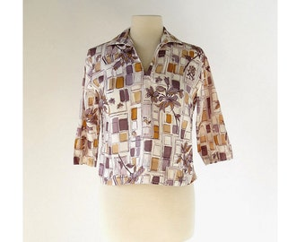 Vintage Bird Blouse | 60s Top | Bird in the City | 1960s Blouse | Deadstock | M L