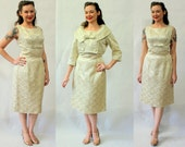 50s/60s white brocade dress and jacket
