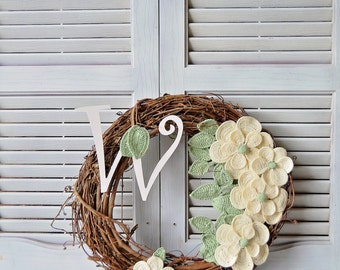 Handcrafted Wreath Magnolia Letter Wreath Grapevine Wreath Off White Magnolias Chose Your Letter