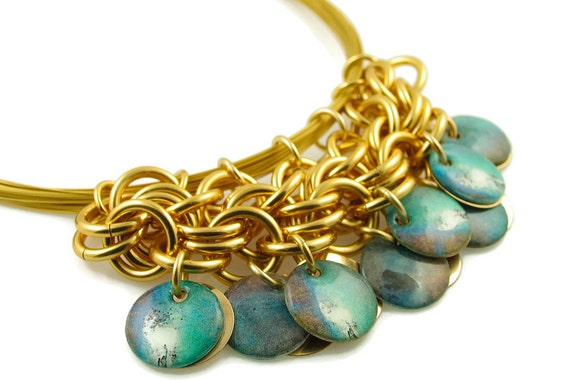 Modified Bib Necklace - Turquoise and Gold
