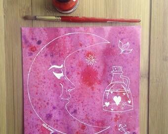 Alchemy Art, Symbolism, Crescent Moon, Medieval Symbols, Watercolor Painting, Spiritual Art, Small Art, Bright Art, Celestial, Pink, Purple