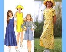121 Simplicity 7225 Girls Raised Waist Pullover Dress Jumper Jacket Hat size 12 14 Breast 30 32 Sewing Pattern Uncut