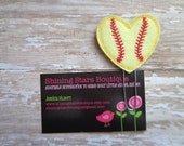 Planner Accessories - Light Yellow And Red Heart Shaped Softball Paper Clip Or Bookmark - Sports Accessory For Planners Or Calendars