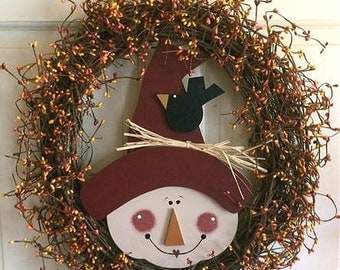 "20"" Scarecrow (Simon) Wreath, personalized"