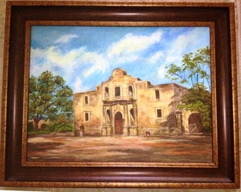 """18 x 24 IMPRESSIONIST """"Rendition of The Alamo"""" Acrylic Painting"""