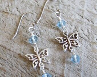 Blue Topaz Butterfly Spirit Animal Totem Healing Gemstone Earrings, Sterling Silver