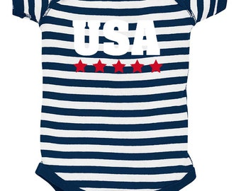 USA Stars Baby Bodysuit - Red White & Blue