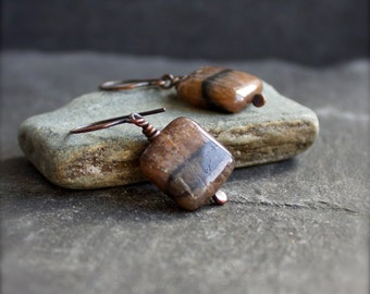 Staurolite Gemstone Earrings - Pink / Peach, Brown / Black, Dark Oxidized Patina, Rustic Copper, Boho Jewelry