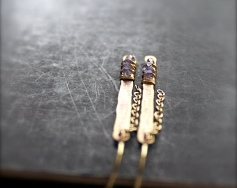 Iolite Stick Chain Dangle Earrings - Oxidized Gold Brass, Wire Wrap Bar, Metalwork, Long Gemstone Earrings, Boho Jewellery No.2