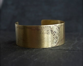 Full Moon Cuff Bracelet - Etched Gold Brass, Dark Oxidized Patina, Wide Metalwork Cuff, Space Boho Jewellery