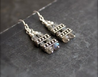 Labradorite Ladder Dangle Earrings - Grey Blue Brown Gemstone, Sterling Silver, Metalwork Boho Jewellery