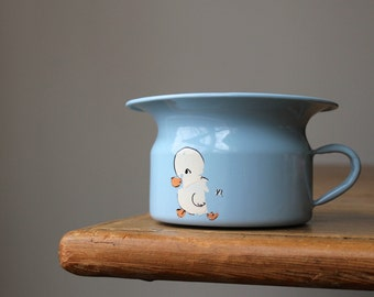 Vintage Enamelware Potty Training Chamber Pot, Czechoslovakian Enamelware, Baby Shower Gift, Little Boys Room