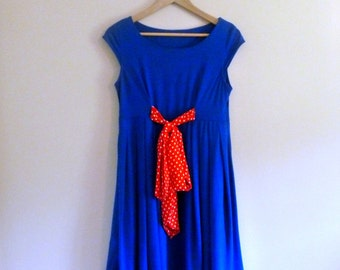 Vintage Blue Mini Dress with Polka Dot Bow - Size S/M