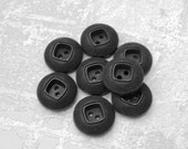 Carved Black Buttons 15mm - 5/8 inch Black Sewing Buttons with Etched Rims - 8 Vintage NOS Satin Black Plastic Sew Through Buttons PL520 2LS