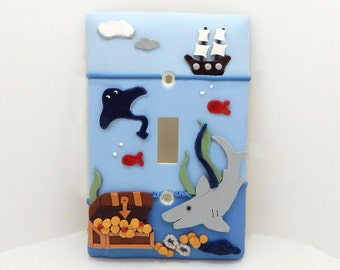 Nautical Themed Under the Sea Light Switch or Outlet Cover - Shark - Children's Under the Sea Nursery