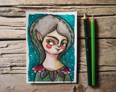 Green fairy, original fantasy watercolor, postcard illustration