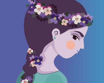 Print violets girl, nature cute woman illustration