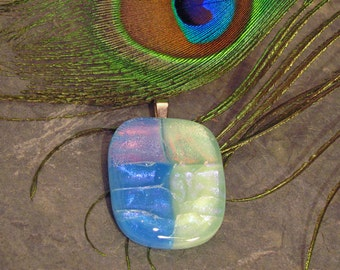 Two-Tone Iridescent Blue Dichroic Glass Pendant ~ Shimmering Aqua and Bright Blue Fused Glass Pendant
