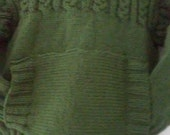 Hand Knit Cable Pullover with Kangaroo front Pocket, size 6