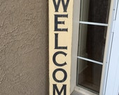 "Large welcome sign - Family and Friends Welcome Here - rustic distressed front door wood sign, 7"" x 48"" front porch sign, tall vertical sign"