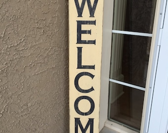 Superieur Large Welcome Sign   Family And Friends Welcome Here   Rustic Distressed Front  Door Wood Sign