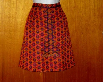 Orange and Purple A-line Skirt - Ladies skirt - Girls Skirt - Modest Skirt - Mod skirt - 25 inch waist