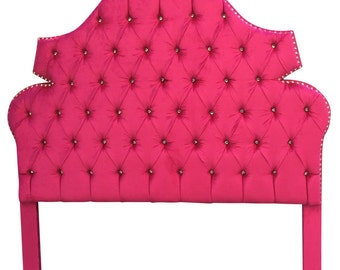 Upholstered Headboard Hot Pink QUEEN Size Hot Pink Tufted Headboard with Rhinestones Queen Headboard Tufted Upholstered