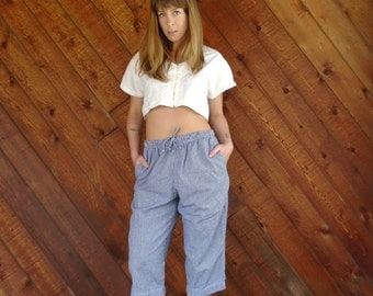 Blue Gingham Checked Capri Pants with High Waist - Vintage 90s - S M