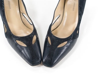 Vintage Navy Heels Cutout Leather Pumps Made in Italy Size 8