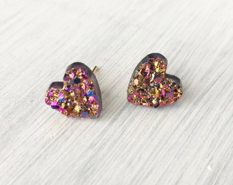 Heart Faux Druzy Stud Earring, 10mm stud Earring, Heart Druzy Earring, Metallic Earrings, Geometric Stud Earrings