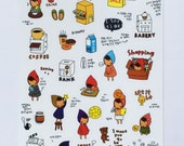 Cute My Little Friend Plastic Stickers From Korea - Girl In Hood, Shopping, Package, Parcel, Bakery, Donuts, Coffee, Reading, Sleeping, Bank