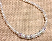Pearl, Crystal, and Rhinestone Necklace, Wedding Necklace, Bridal Necklace