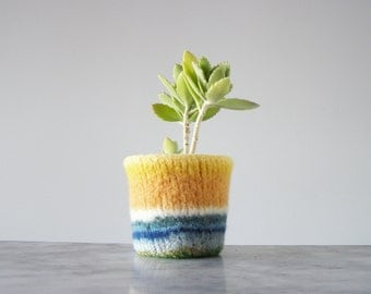 felted cactus or houseplant planter - plant pot with waterproof lining - textural planter -  sunny yellow and stripes - gifts for teachers