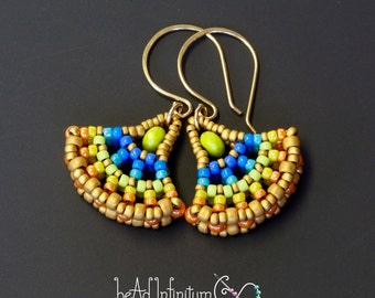 Ginkgo Leaf Beaded Earrings Rainbow Gold Filled Ear Wires