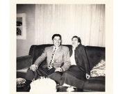 "vintage Photo ""Birthday Joke"" Handsome Man Pretty Woman Birthday Cake 1950s snapshot"
