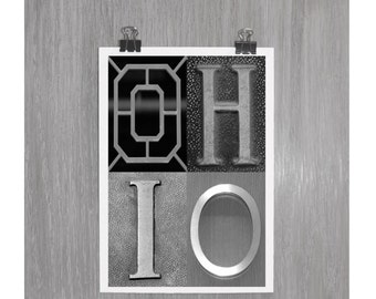 OHIO - 8 x 12 Black and White photograph - OSU Ohio State Go Bucks Buckeyes Scarlet and Gray
