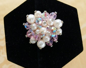 On sale Pretty Pink Rhinestone and Pearl Vintage Brooch