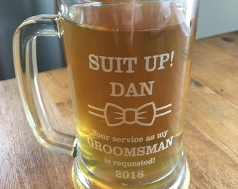 Best Man/Groomsmen Beer Steins - Customize - Wedding Party Beer Mugs